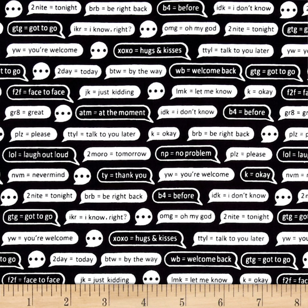 CELL PHONE KEYBOARD TEXT BLACK COTTON FABRIC FQ