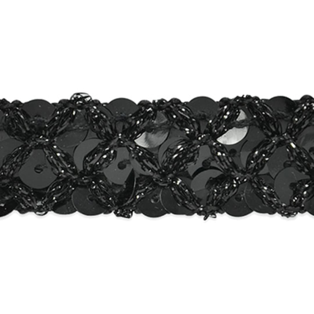 10Yard Black Vintage Cotton Knitted Four Floral Lace Trim Dress Sewing Craftwork