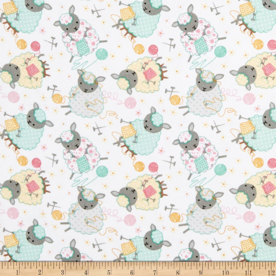 A.E Nathan Flannel Tossed Bubbles Aqua Fabric By The Yard