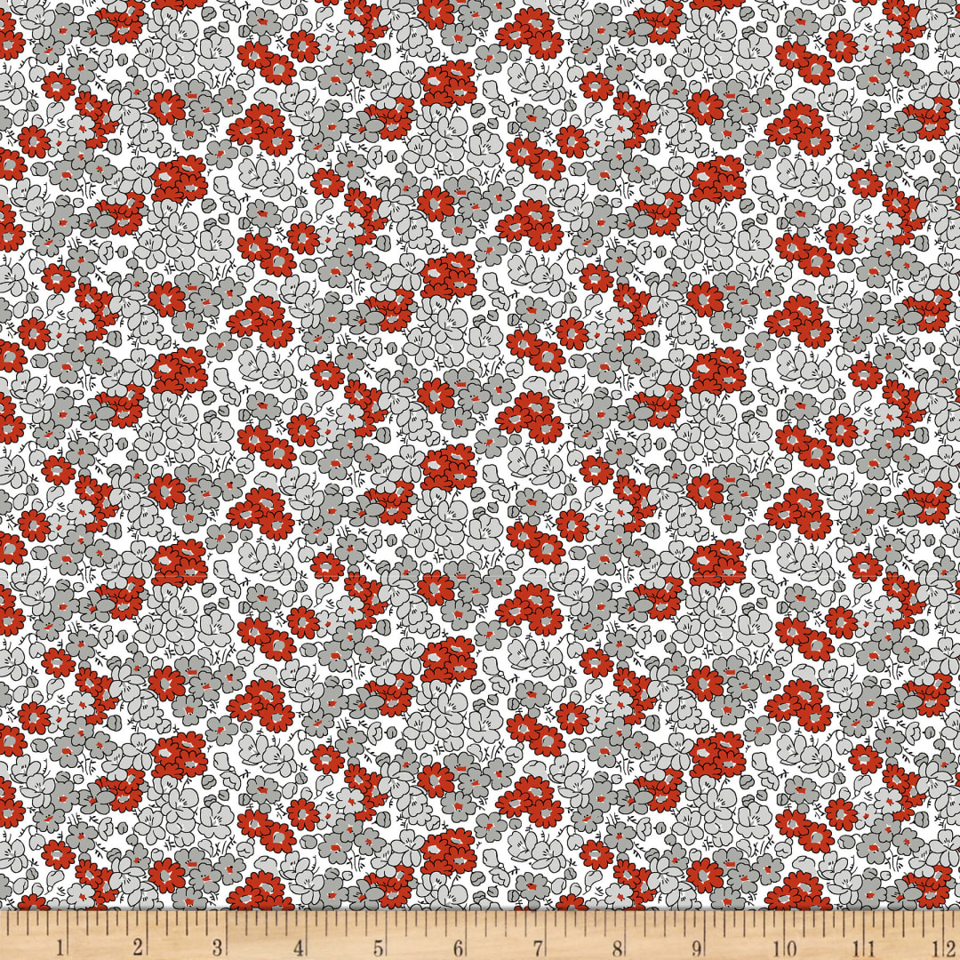 Clothworks Tiny Print Nation Flowers Grey Fabric Com