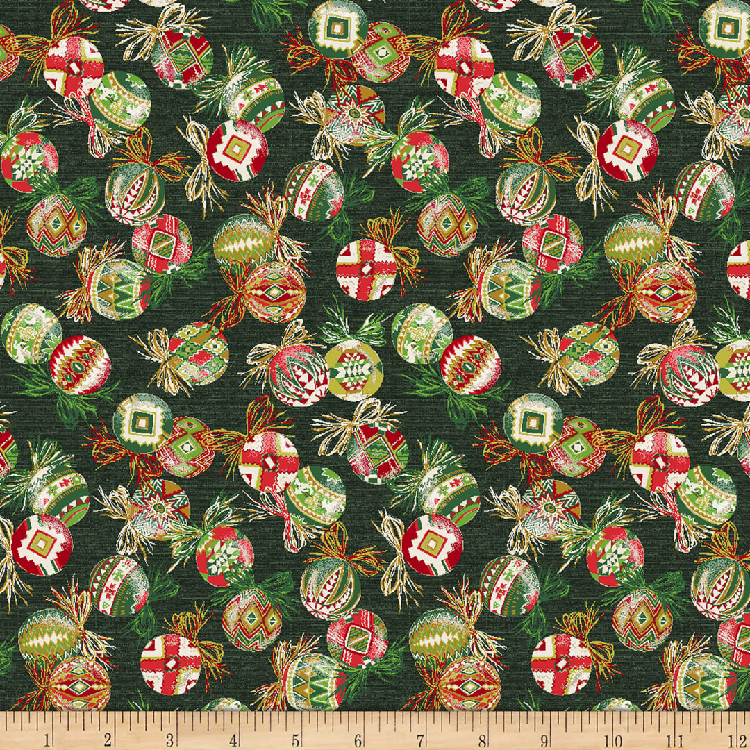 Baxter Mill Santa Fe Christmas Ornaments Green Fabric Com