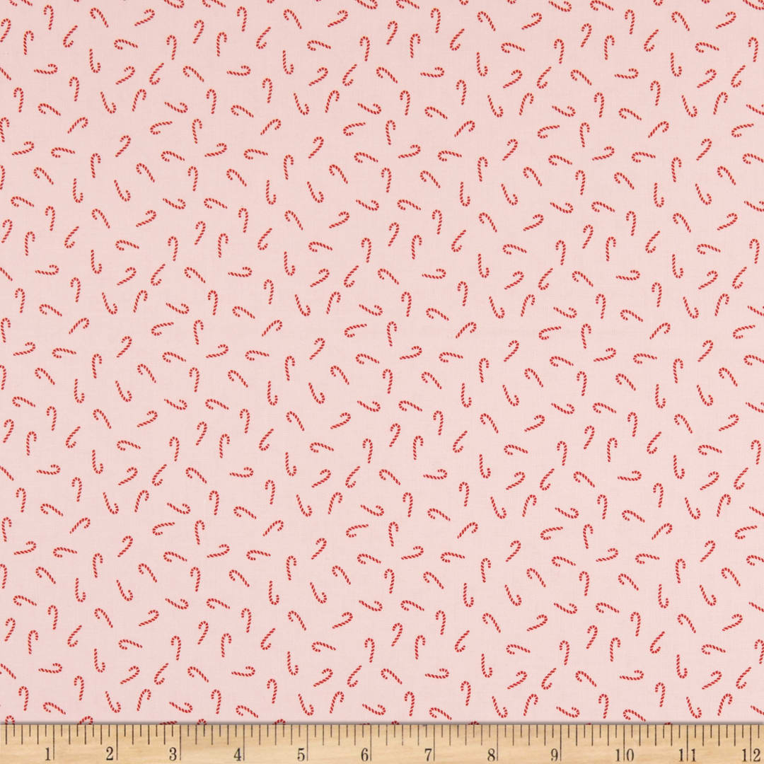 100/% Cotton Quilting Fabric- Fabric By The Yard Full Yard Santa Claus Lane Candy Canes Red Flannel Riley Blake Designs