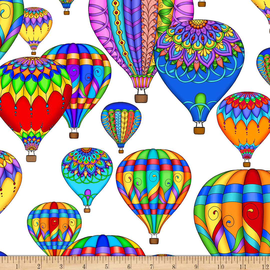 Air Balloons Cotton Quilt Fabric by the Yard Hot Air Balloons Fabric Print