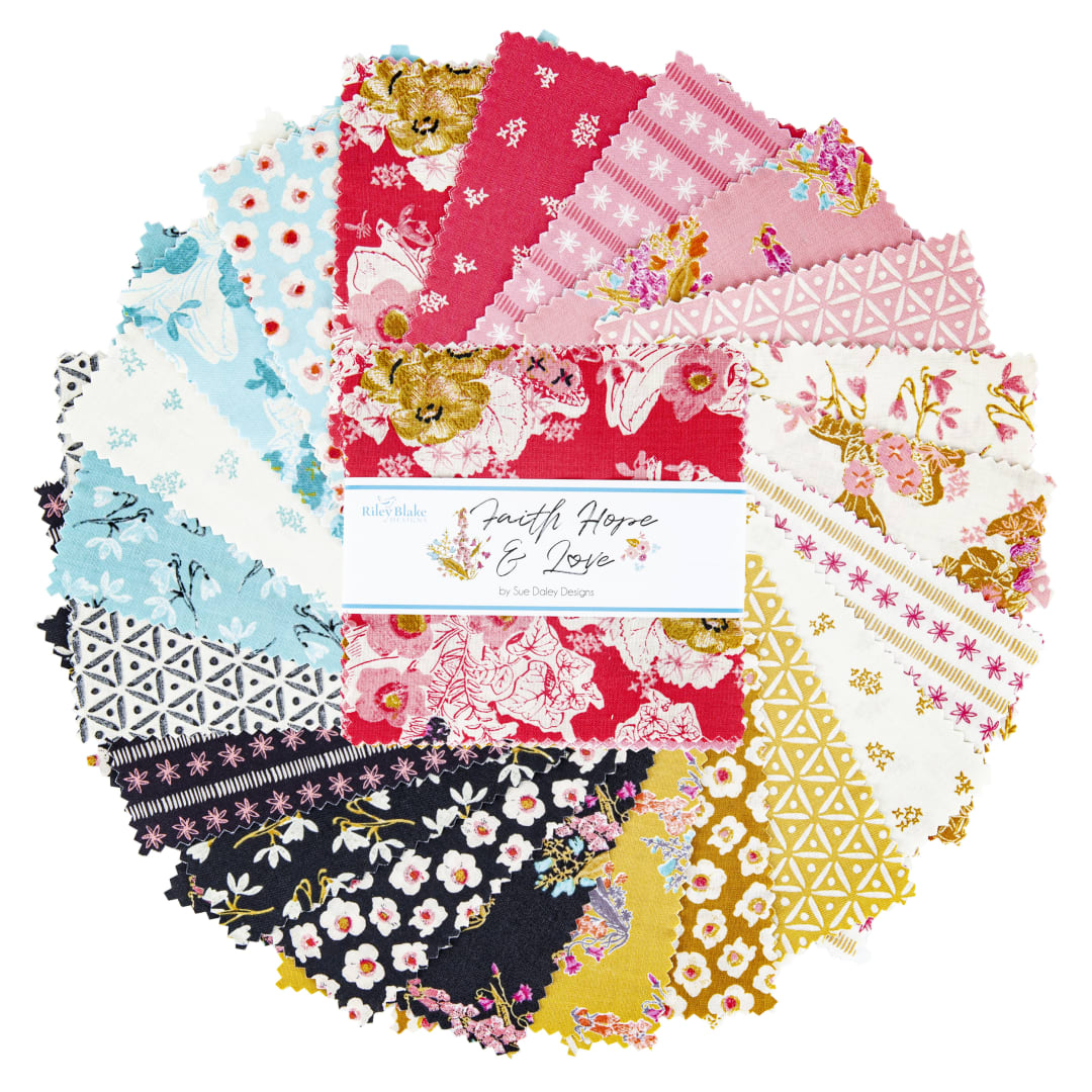 42 pc 10 Layer Cake Faith Riley Blake Designs Hope and Love by Sue Daley 10-10320-42