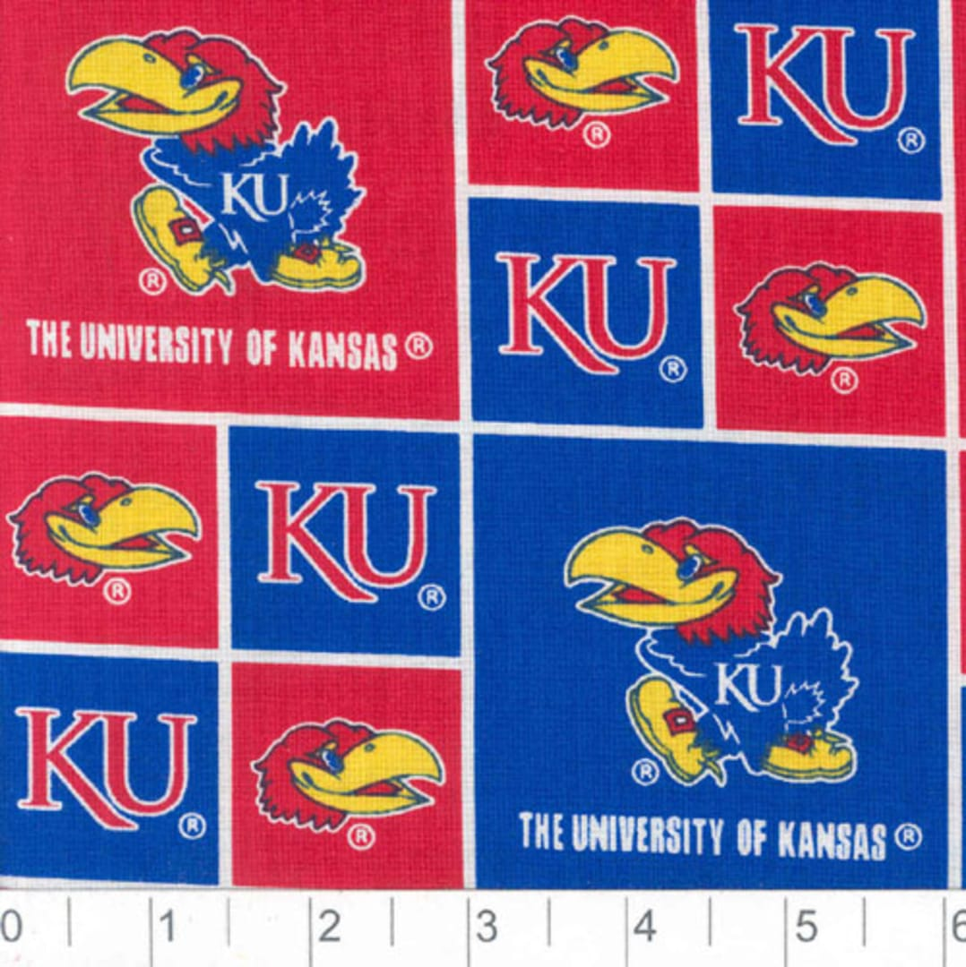 University of Kansas WHITE Cotton Fabric-NCAA 100/% cotton fabric in WHITE with Allover Logo Print-Sold by the Yard-