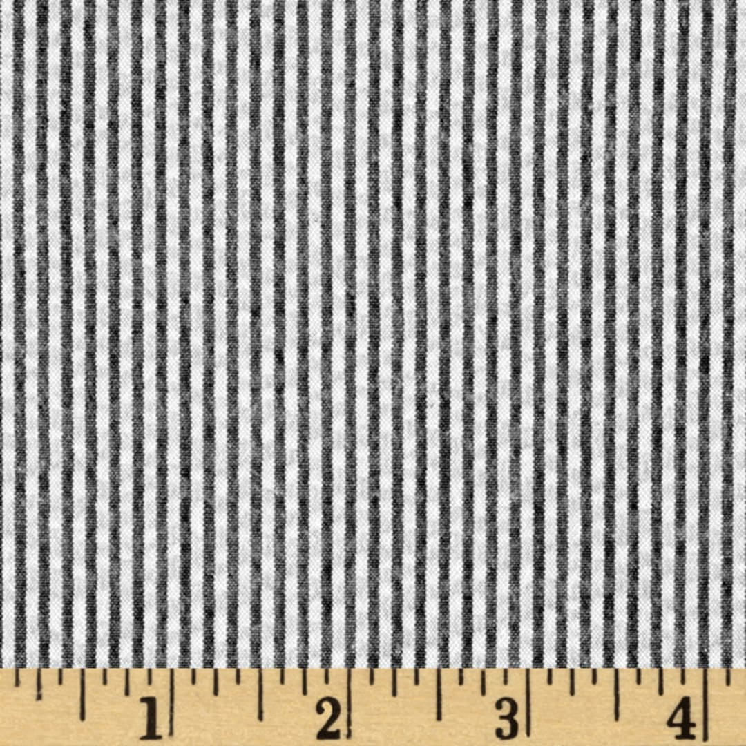 Kaufman Classic Seersucker Stripe Black White Fabric Com