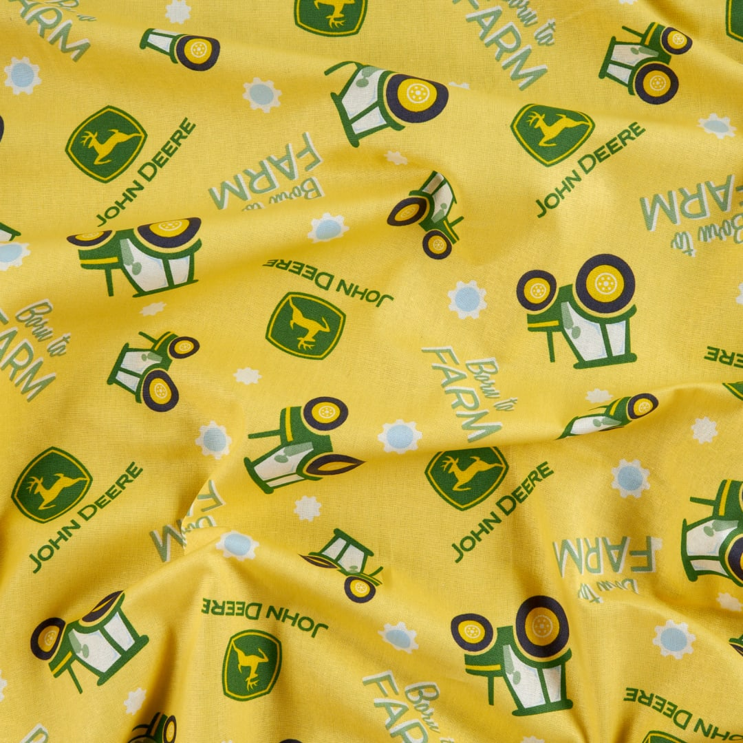 Springs John Deere Children Yellow Born To Farm Cotton Fabric