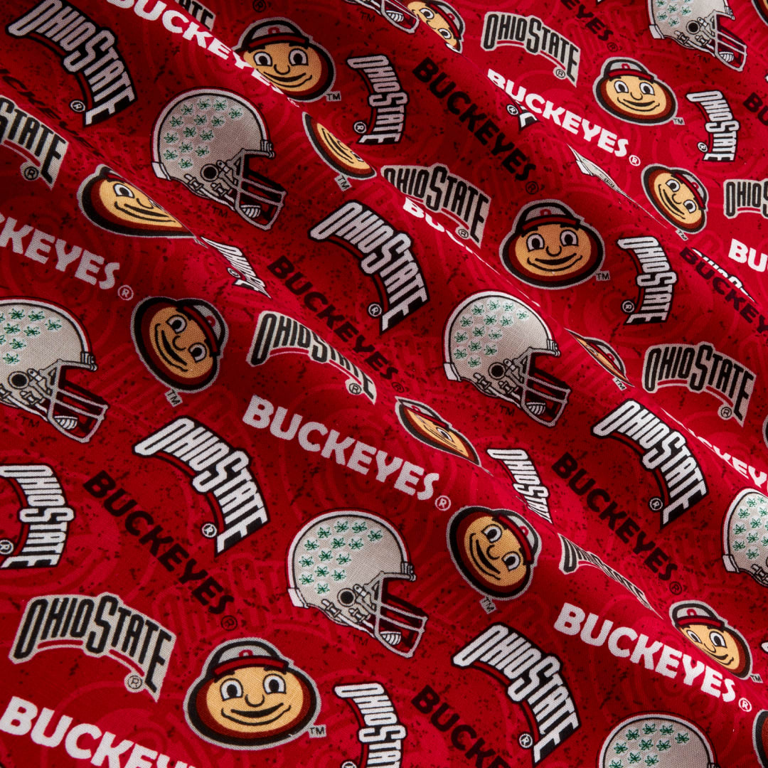 Sykel Enterprises NCAA Fabric by the Yard Ohio State 1178 Tone on Tone Red//White//Gray//Black