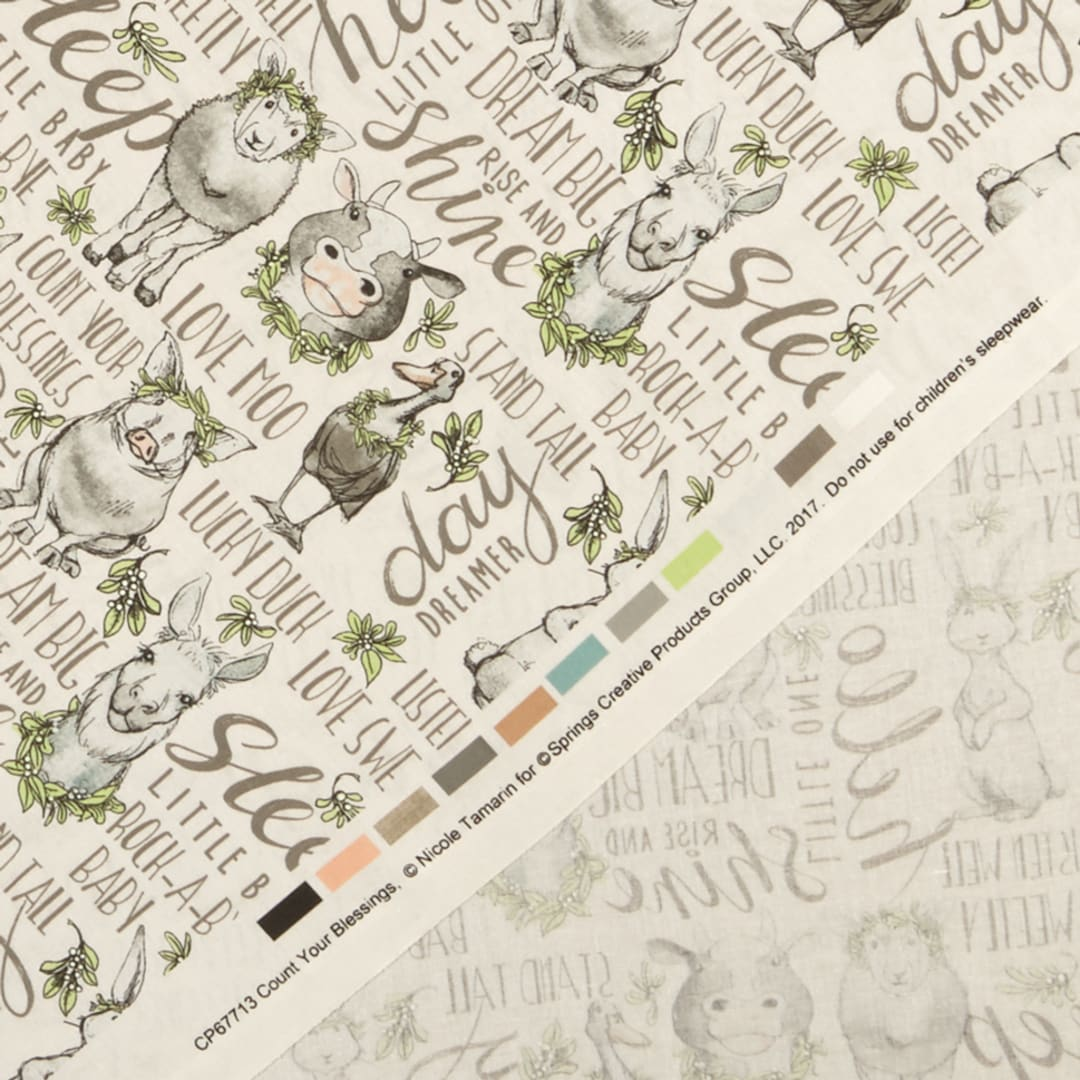Nursery Gray Quilt Fabric,Apparel Fabric Home Decor,Crafts 100/% Cotton Fabric by the Yard Baby Count Your Blessings by Spring Creative