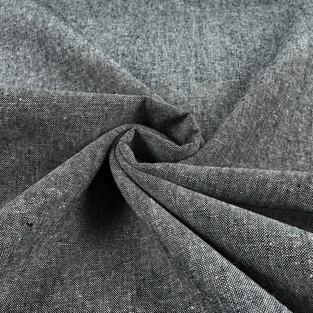 Essex Linen in Black from Robert Kaufman quilting apparel fabric material by the yard or metre E014-1019