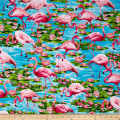 Timeless Treasures Flamingos Turquoise