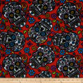 Celebration Fleece Folkloric Skulls Red