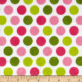 Shannon Minky Cuddle Classic Mod Dot Hot Pink/Jade