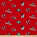 Collegiate Cotton Broadcloth University of Georgia Red/Black