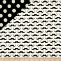 Riley Blake Double Sided Quilted Mustache Cream