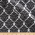 Charmeuse Satin Classic Damask Snow/Black