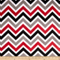 Shannon Minky Cuddle Zig Zag Red/Black/Snow