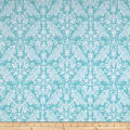 Riley Blake Flannel Medium Damask Aqua