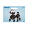 Simplicity Iron On Applique Jeweled Black Poodle W/Rhinestones