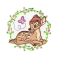 Disney Bambi Iron On Applique Bambi W/Butterfly In Flowers