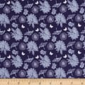 Fabric Freedom Springtime Floral Tossed Flowers Navy