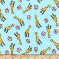 Timeless Treasures Safari Crush Flannel Giraffes Aqua