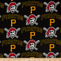 MLB Cotton Broadcloth Pittsburgh Pirates Black/Yellow