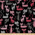 Kaufman Whiskers & Tails Cats Allover Black
