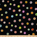 Michael Miller Melodies Folk Floral Dot Black