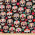 Timeless Treasures Day Of The Dead Skulls Black