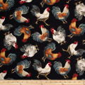 Timeless Treasures French Country Tossed Roosters Black