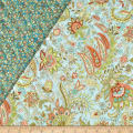 Notting Hill Double Sided Quilted Paisley Floral Aqua