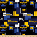 Collegiate Cotton Broadcloth University Of Michigan Block Print Navy