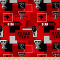 Collegiate Cotton Broadcloth Texas Tech University Block Print Red