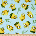 QT Fabrics Minions All Natural Minion Toss Light Blue