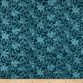 Indian Batik Moody Blues Floral Scroll Blue