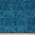 Indian Batik Moody Blues Leaf Abstract Blue