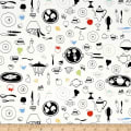 QT Fabrics Whip It Up Kitchen Items Toss White