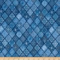 Heavenly Diagonal Filigree Patch Dark Chambray