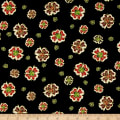Noel Metallic Medallion Flower Black