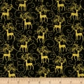 Golden Holiday Metallic Reindeer Scroll Green