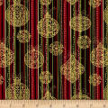 Golden Holiday Metallic Festive Stripe/Ornament Multi/Gold