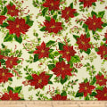 A Happy Christmas Pointsettia Ribbon Ecru Metallic