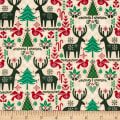 Seasons Greetings Reindeer & Trees Ecru