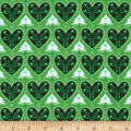 Seasons Greetings Hearts Green
