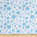Seasons Greetings Snow Blue Metallic