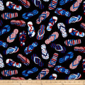 Kanvas All American Patriotic Flip Flops Black