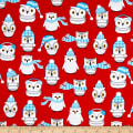 Kaufman Polar Pals Holiday Owls Red