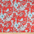 Telio Venice Stretch ITY Knit Floral Print Coral