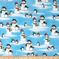North Pole Greetings Flannel Snowmen And Penguins Light Blue